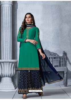 Aqua Mint Designer Georgette Palazzo Salwar Suit