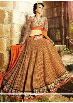 Glorious Orange Net Wedding Lehenga Choli