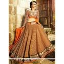 Glorious Orange Net Wedding Lehenga Choli