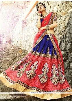 Latest Blue And Red Velvet And Net Lehenga Choli