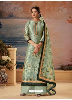 Grayish Green Designer Palazzo Salwar Suit
