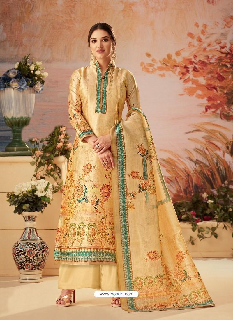 Cream Designer Palazzo Salwar Suit