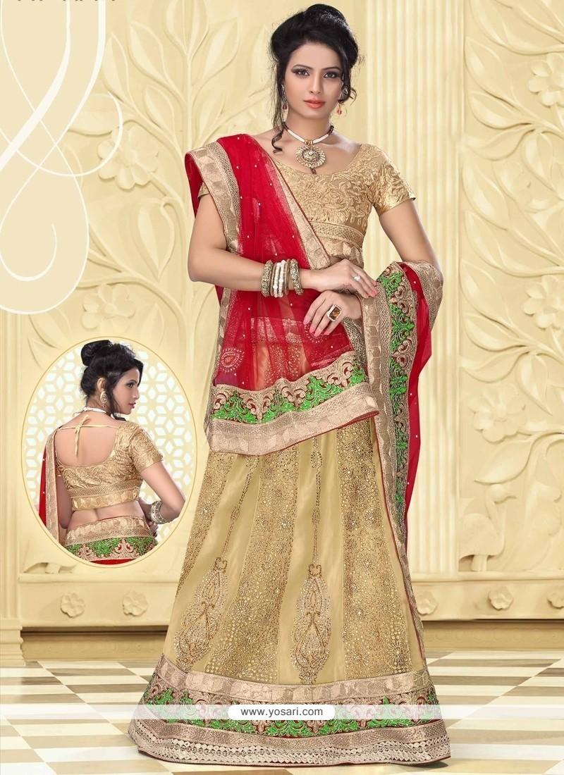 Lovely Beige Net Designer Lehenga Choli