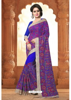 Royal Blue Casual Wear Embroidered Designer Georgette Sari