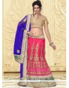 Hot Pink Zari Work Net Lehenga Choli