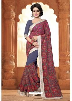 Dull Grey Casual Wear Embroidered Designer Georgette Sari