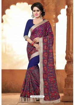 Navy Blue Casual Wear Embroidered Designer Georgette Sari