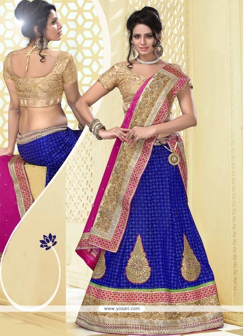 Graceful Blue Net Designer Lehenga Choli