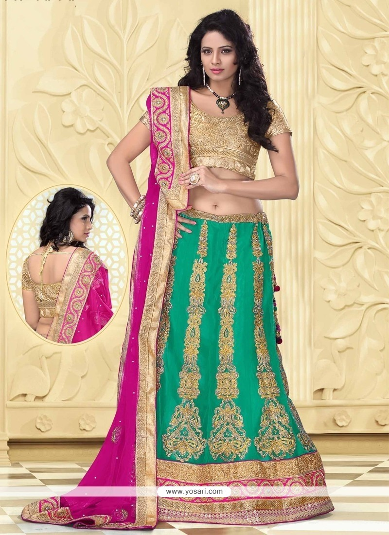 Sea Green Net Designer Lehenga Choli