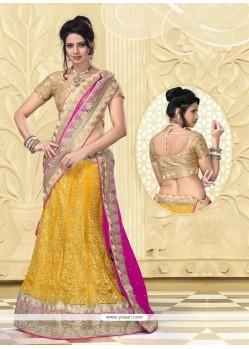 Awesome Yellow Net Designer Lehenga Choli