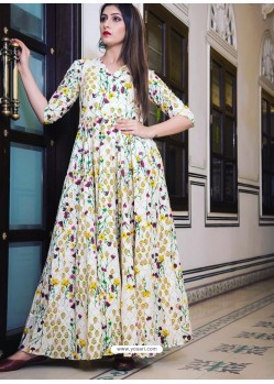 Off White Party Wear Gown for Girls