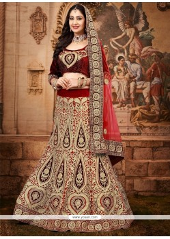 Lovely Maroon Net And Velvet Lehenga Choli
