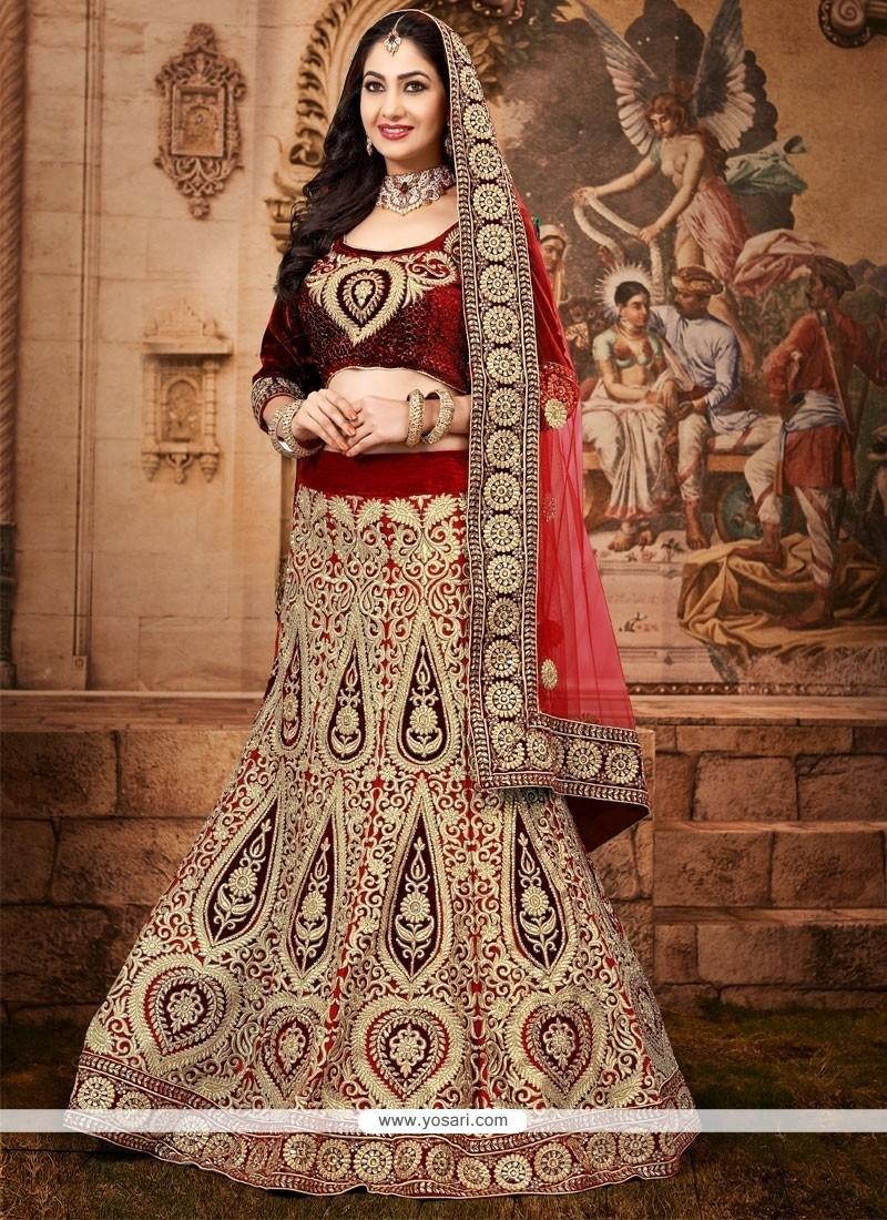 Lovely Maroon Net And Velvet Lehenga Choli