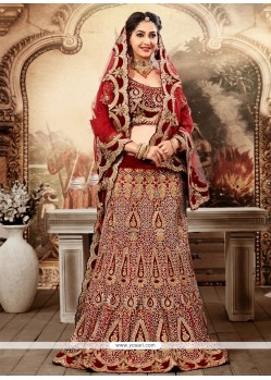 Fabulose Maroon Net And Velvet Lehenga Choli