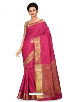 Rose Red Heavy Embroidered Designer Kanjivaram Silk Sari