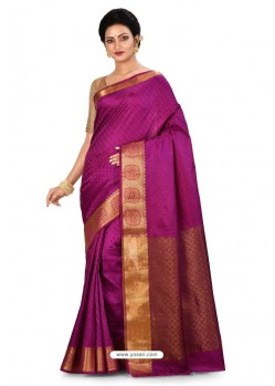 Purple Heavy Embroidered Designer Silk Sari