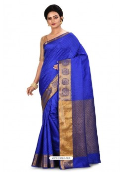 Royal Blue Heavy Embroidered Designer Kanjivaram Silk Sari