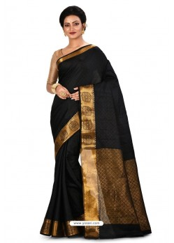 Black Heavy Embroidered Designer Kanjivaram Silk Sari