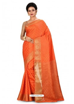 Orange Heavy Embroidered Designer Kanjivaram Silk Sari