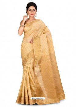 Gold Heavy Embroidered Designer Kanjivaram Silk Sari