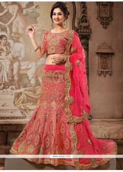 Glorious Pink Art Silk And Net Lehenga Choli