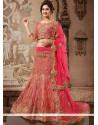 Glorious Pink Art Silk And Net Lehenga Choli