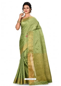 Green Heavy Embroidered Designer Kanjivaram Silk Sari