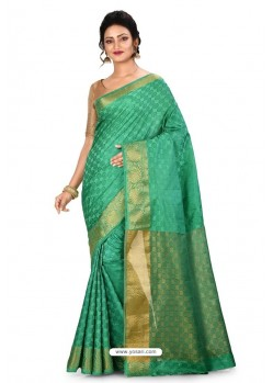 Jade Green Heavy Embroidered Designer Kanjivaram Silk Sari