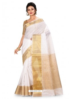 White Heavy Embroidered Designer Kanjivaram Silk Sari