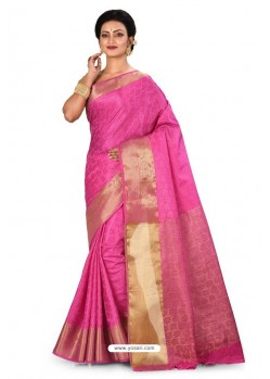 Hot Pink Heavy Embroidered Designer Kanjivaram Silk Sari