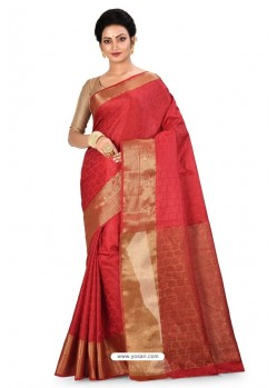 Red Heavy Embroidered Designer Kanjivaram Silk Sari