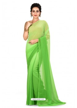Green Heavy Embroidered Designer Chiffon Sari