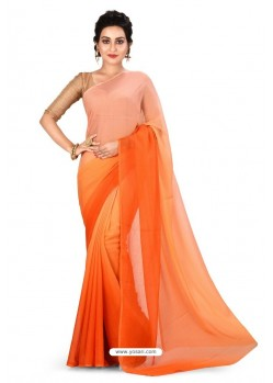 Light Orange Heavy Embroidered Designer Chiffon Sari