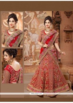Lovely Red Net Wedding Lehenga Choli