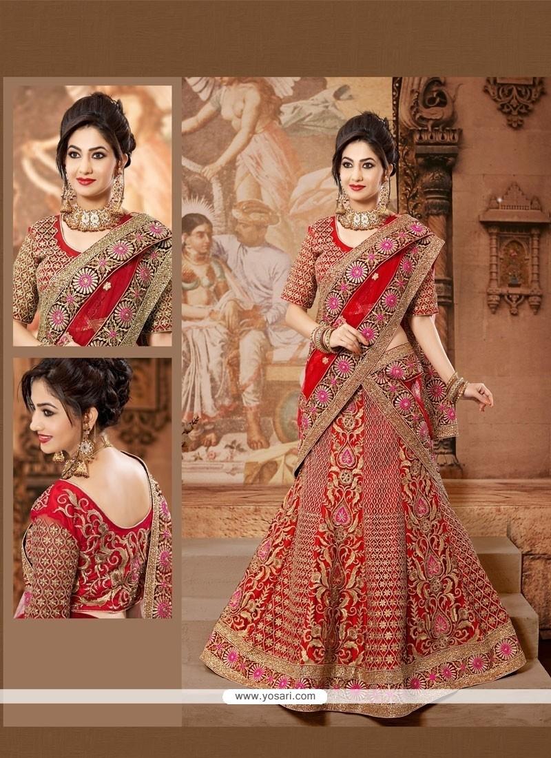 Lovely Red Net Wedding Lehenga Choli