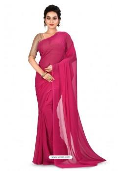 Rani Heavy Embroidered Designer Chiffon Sari