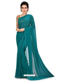 Blue Heavy Embroidered Designer Chiffon Sari