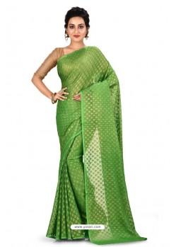Green Heavy Embroidered Designer Chiffon Sari