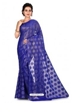Dark Blue Heavy Embroidered Designer Chiffon Sari