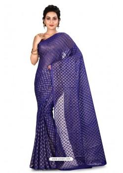 Violet Heavy Embroidered Designer Chiffon Sari