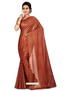 Rust Heavy Embroidered Designer Chiffon Sari