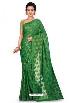 Forest Green Heavy Embroidered Designer Chiffon Sari