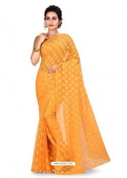 Yellow Heavy Embroidered Designer Chiffon Sari
