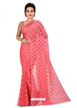 Peach Heavy Embroidered Designer Chiffon Sari