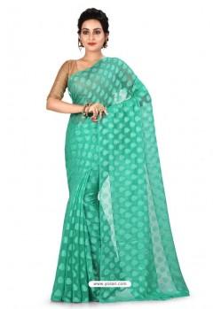 Sky Blue Heavy Embroidered Designer Chiffon Sari