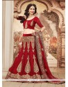 Awesome Maroon Net Wedding Lehenga Choli