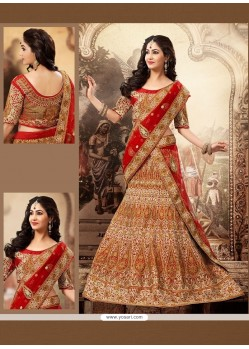 Splendid Beige And Red Net Wedding Lehenga Choli