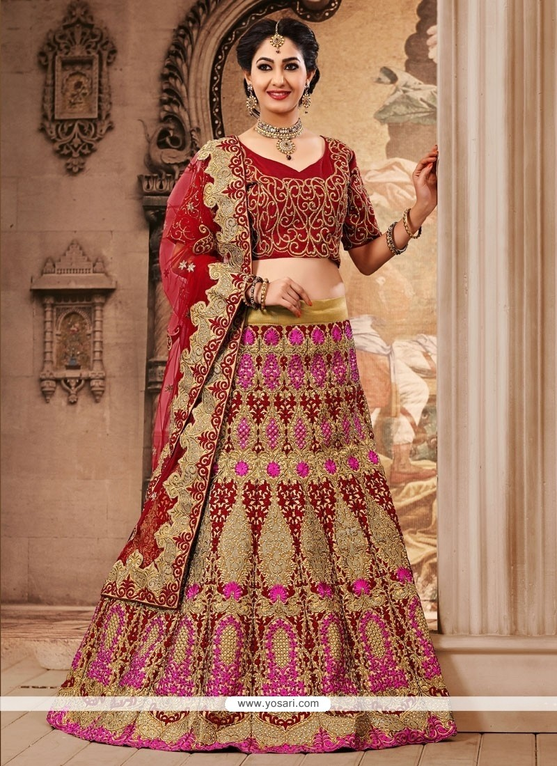 Red Jute Silk And Net Designer Lehenga Choli