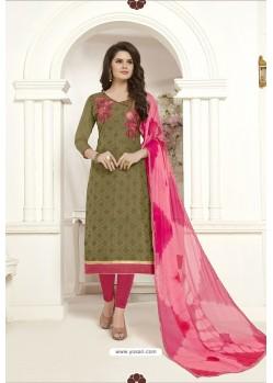 Mehendi Embroidered Designer Churidar Salwar Suit