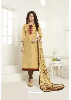 Khaki Embroidered Designer Churidar Salwar Suit